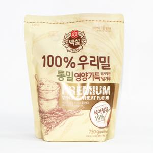 CJ 백설 우리밀 통밀 밀가루(750g)
