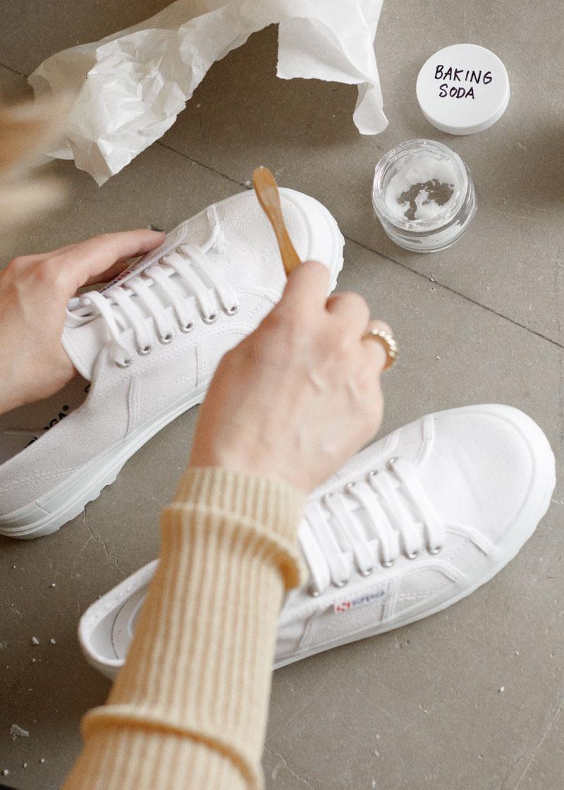 Sneaker saviours - brush with baking soda