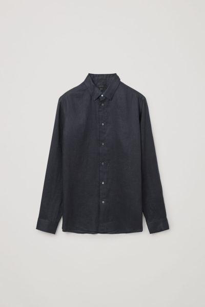 COS default image 12 of 블루 in 헴프 셔츠