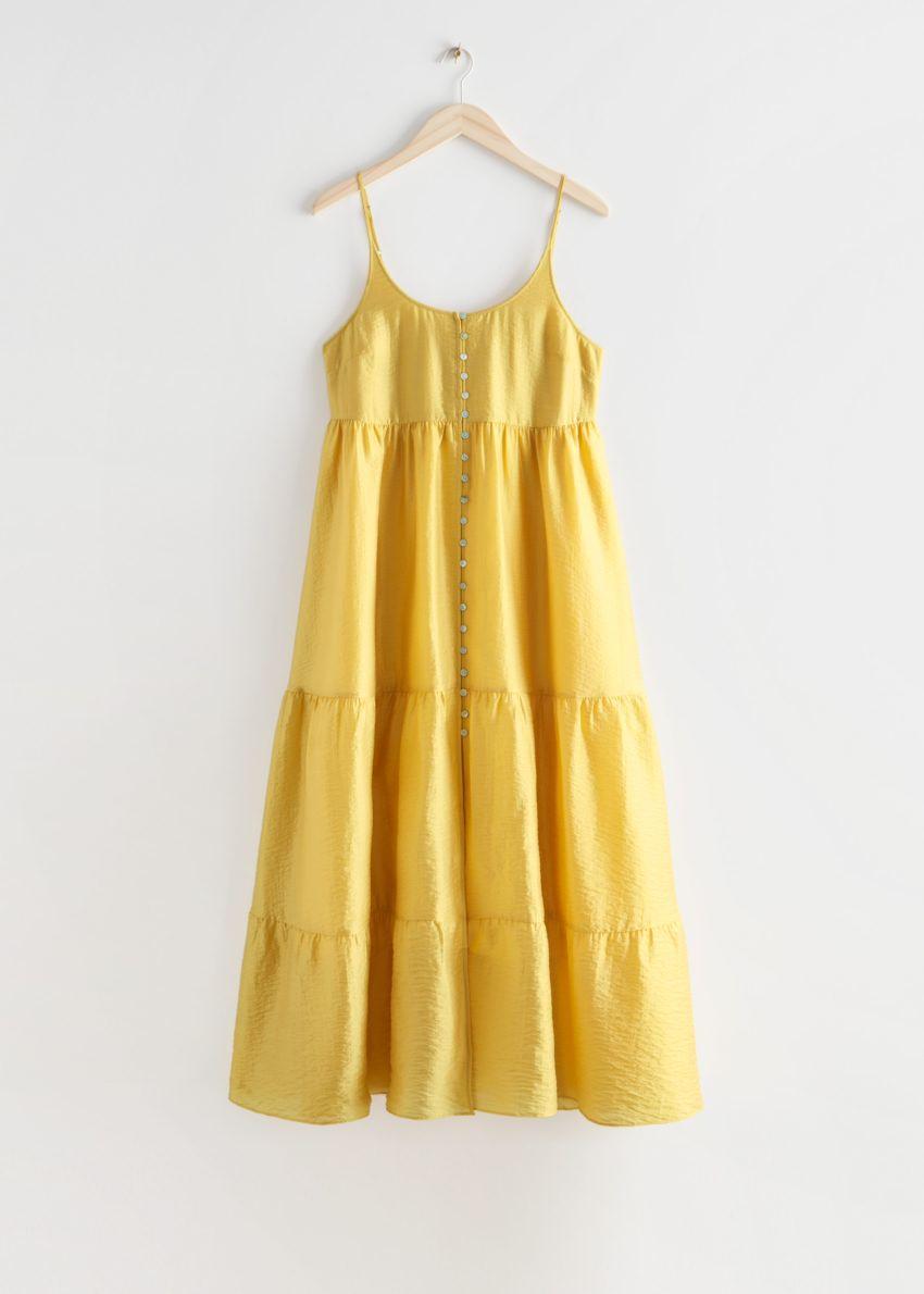앤아더스토리즈 스트래피 버튼 맥시 드레스의 옐로우컬러 Product입니다.