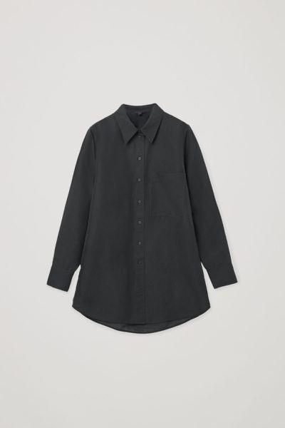 COS default image 10 of 블랙 in 오버사이즈 리넨 셔츠