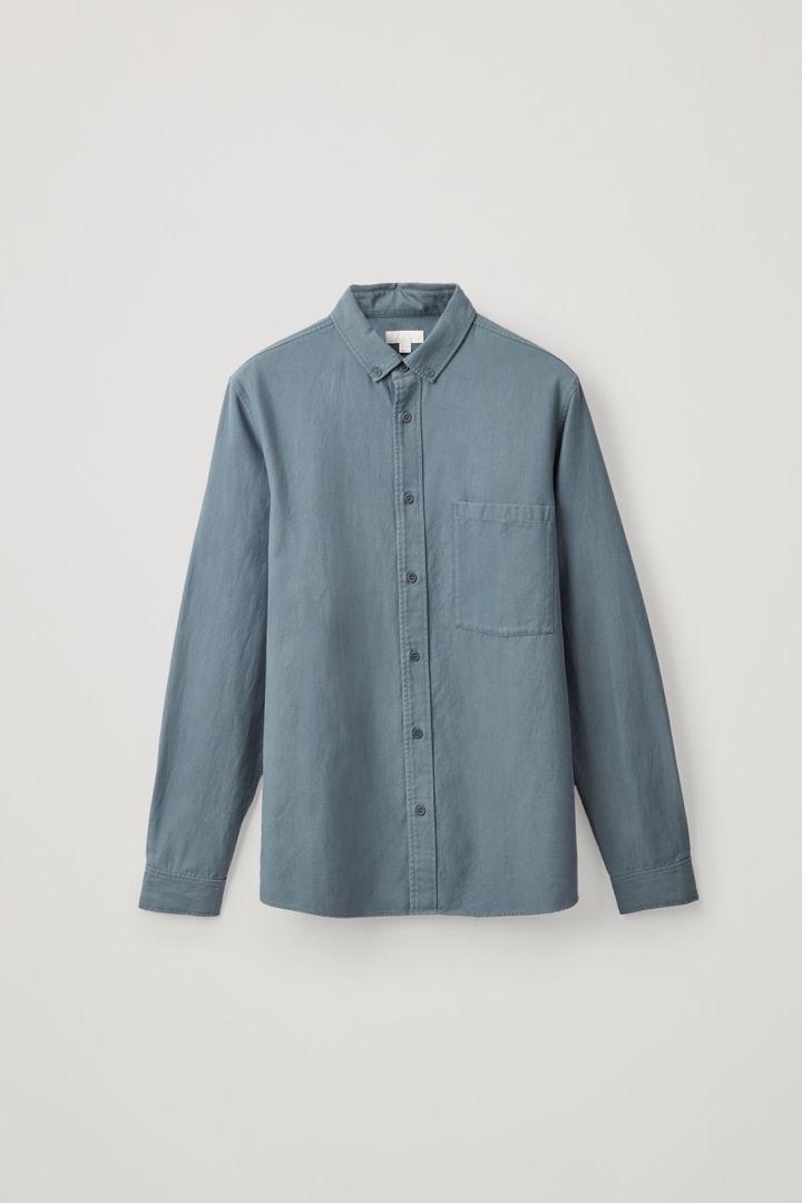 COS hover image 1 of 블루 in 버튼다운 코튼 라이오셀 셔츠