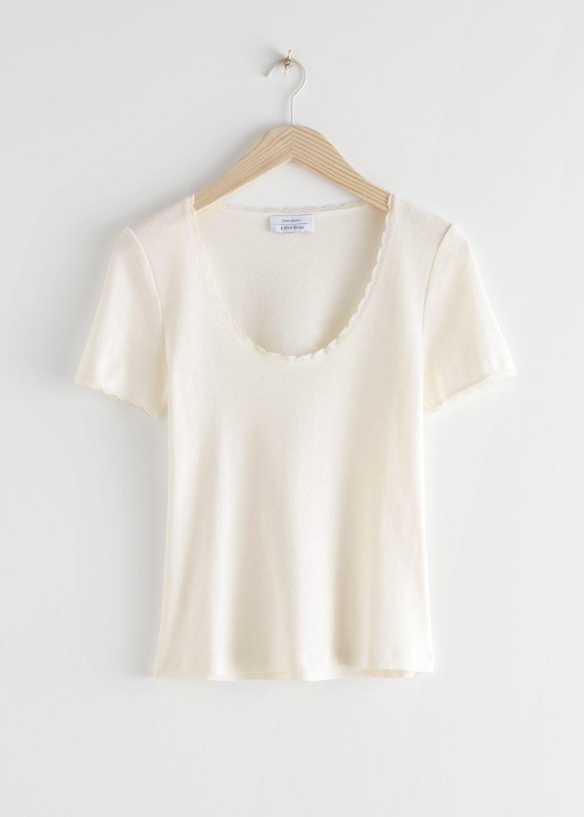 앤아더스토리즈 립 레이스 트림 티셔츠의 화이트컬러 Product입니다.