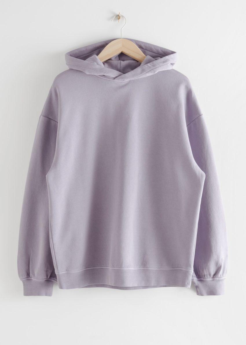 앤아더스토리즈 오버사이즈 후디드 박시 스웨트셔츠의 다크 라일락컬러 Product입니다.
