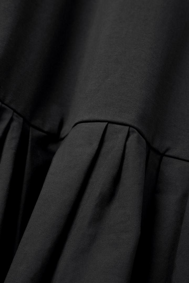 COS 개더드 패널 코튼 드레스의 블랙컬러 Detail입니다.