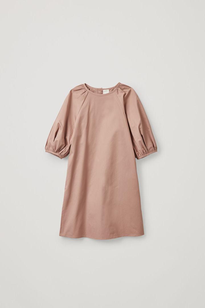 COS default image 2 of 베이지 in 퍼프 슬리브 코튼 드레스