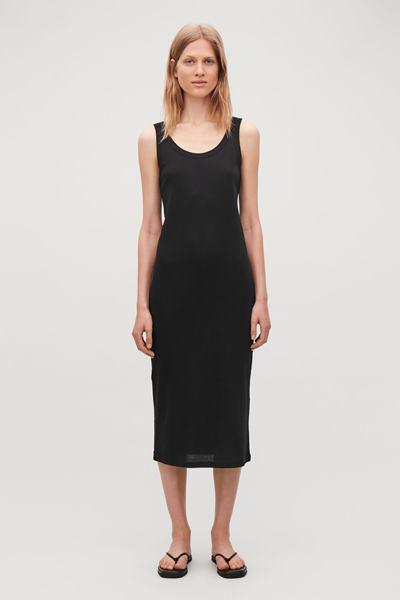 COS hover image 7 of 블랙 in 리브드 코튼 베스트 드레스