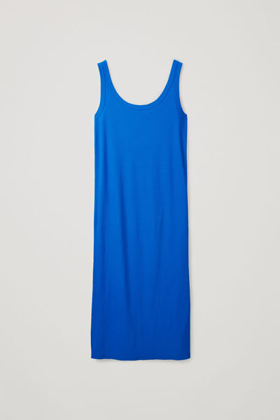 COS default image 8 of 블루 in 리브드 코튼 베스트 드레스