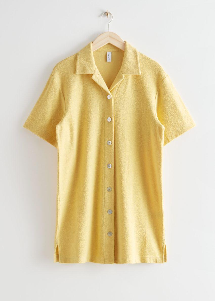 앤아더스토리즈 오버사이즈 미니 셔츠 드레스 의 옐로우컬러 Product입니다.
