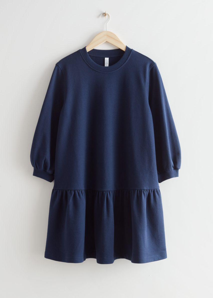 앤아더스토리즈 티어드 저지 미니 드레스의 네이비컬러 Product입니다.
