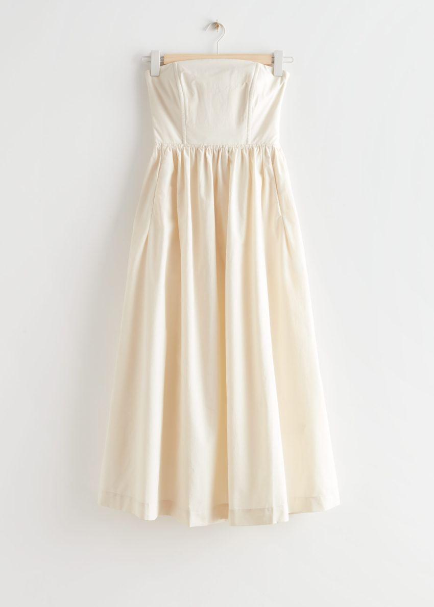 앤아더스토리즈 볼류미너스 방도 미디 드레스의 크림컬러 Product입니다.