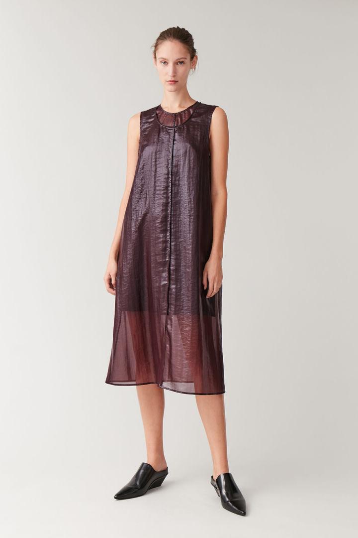 COS default image 3 of 레드 in 트랜스페어런트 더블 레이어 드레스