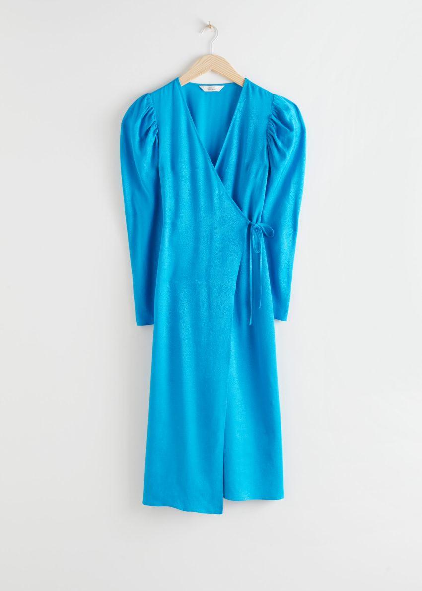 앤아더스토리즈 호스 프린트 웨이스트 타이 미디 드레스의 블루컬러 Product입니다.