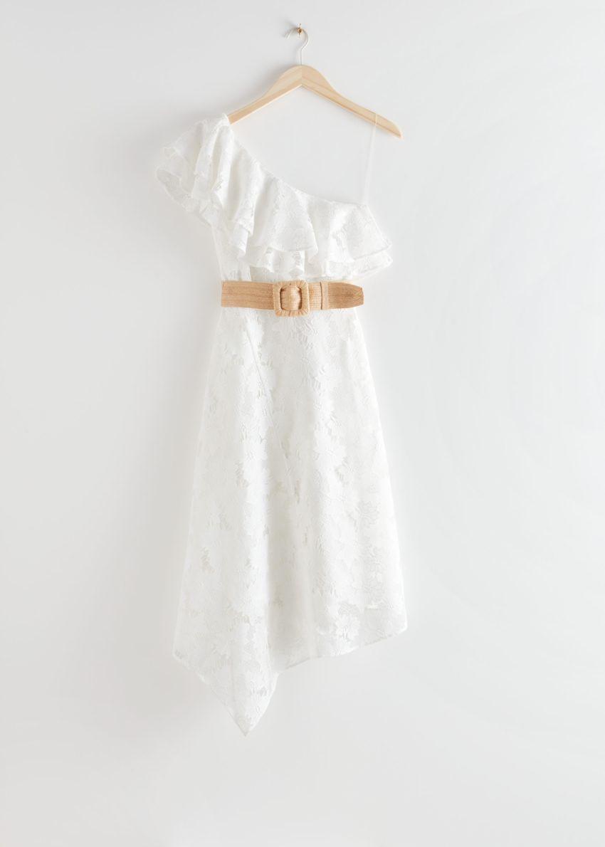 앤아더스토리즈 벨티드 원 숄더 미디 드레스의 화이트컬러 Product입니다.