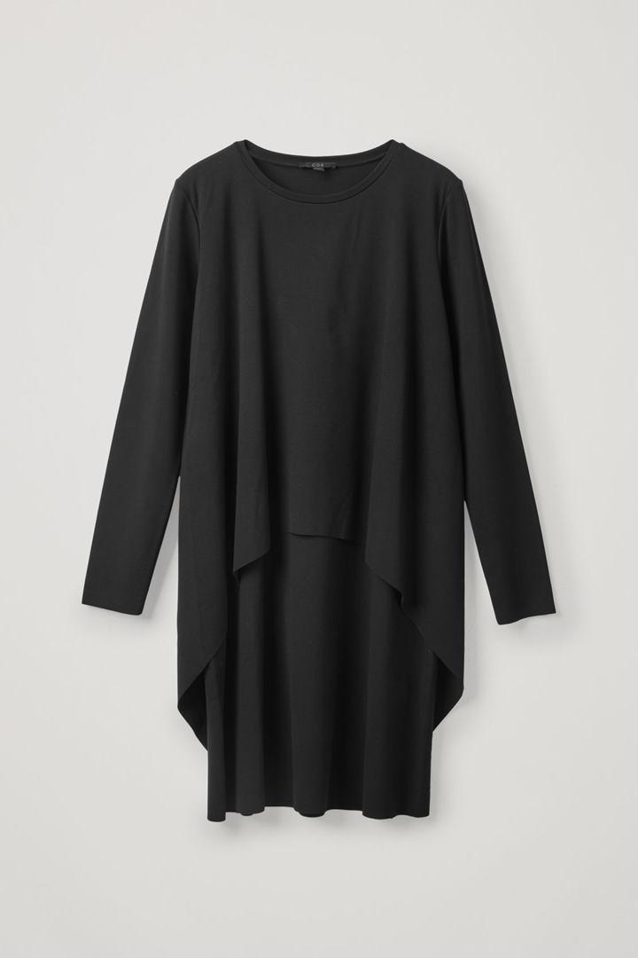 COS hover image 6 of 블랙 in 롱 슬리브 레이어드 드레스