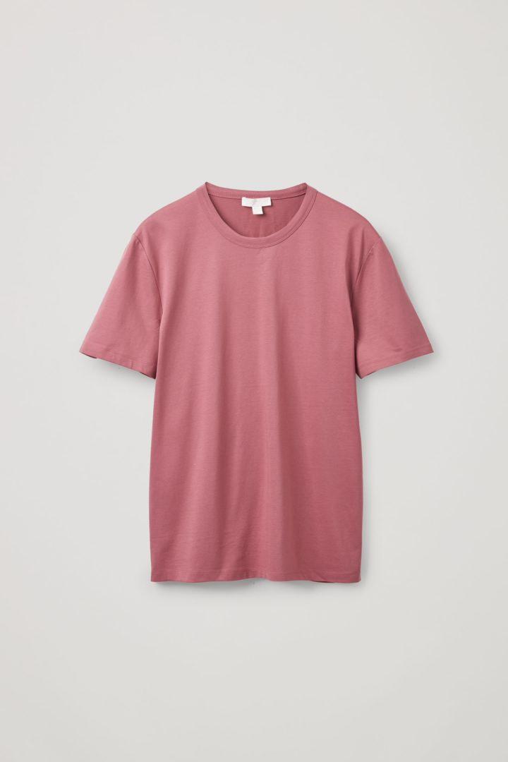 COS 오가닉 코튼 슬림핏 티셔츠의 더스티 핑크컬러 Product입니다.