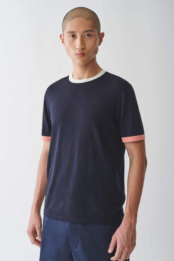 COS default image 7 of 블루 in 컬러 블록 코튼 실크 티셔츠