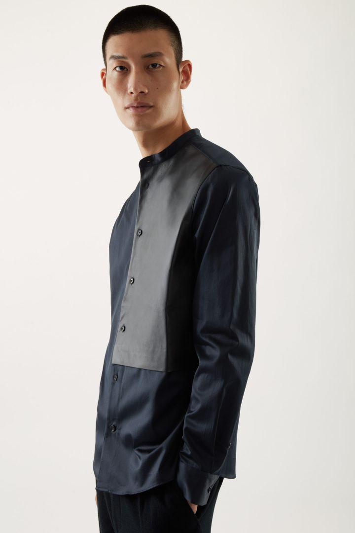 COS default image 2 of 블루 in 레더 패널 칼라리스 셔츠