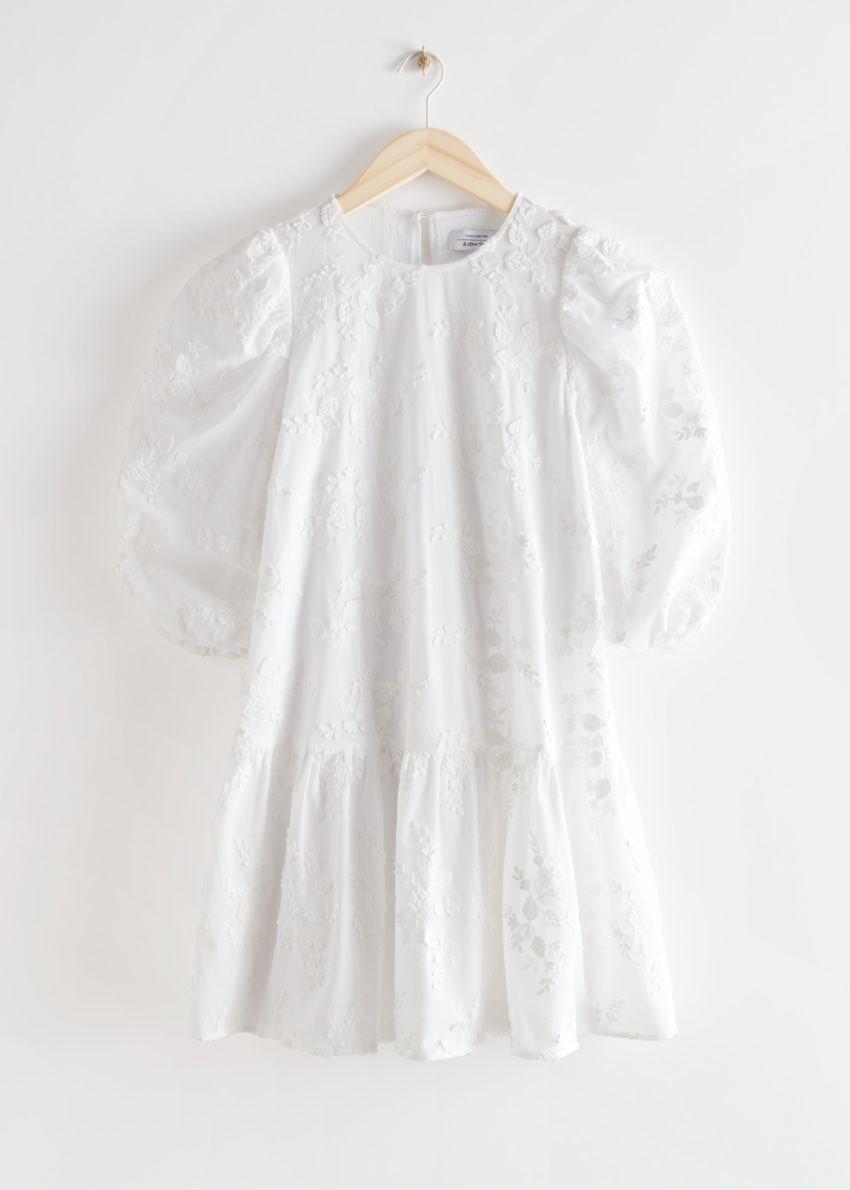 앤아더스토리즈 와이드 코튼 엠브로이더리 미니 드레스의 화이트컬러 Product입니다.