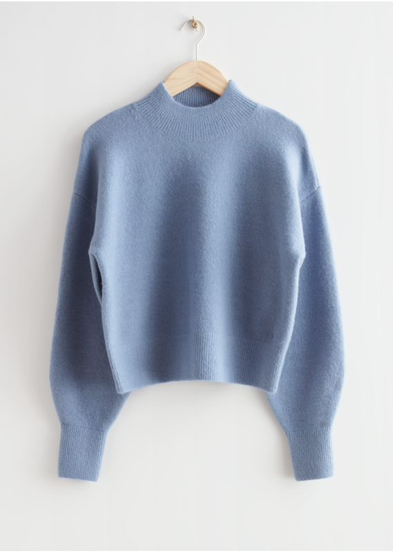 &OS image 1 of 블루 in 모크 넥 스웨터