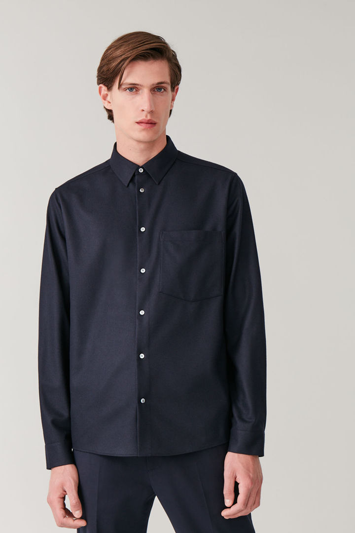 COS default image 3 of 블루 in 펠트 울 셔츠
