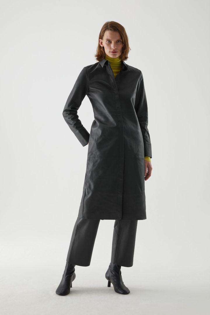 COS default image 5 of 블랙 in 나파 레더 셔츠 드레스