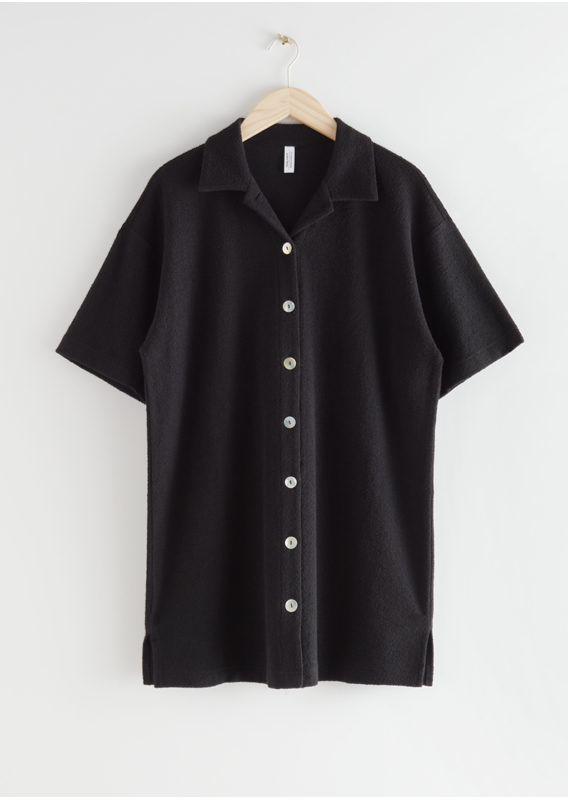 &OS image 4 of 블랙 in 오버사이즈 버튼 셔츠 드레스