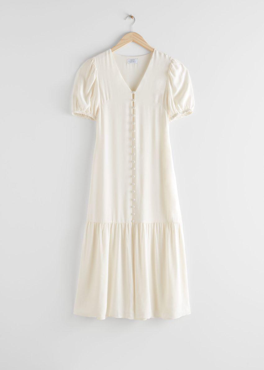 앤아더스토리즈 버튼 다운 퍼프 슬리브 미디 드레스의 화이트컬러 Product입니다.