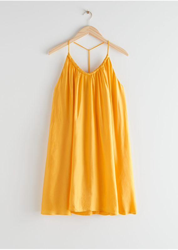 &OS image 3 of 옐로우 in 볼류미너스 스파게티 스트랩 미니 드레스