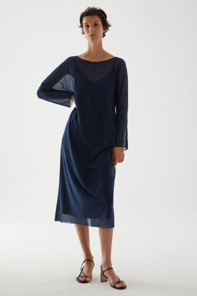 COS hover image 10 of 블루 in 롱 쉬어 코튼 드레스