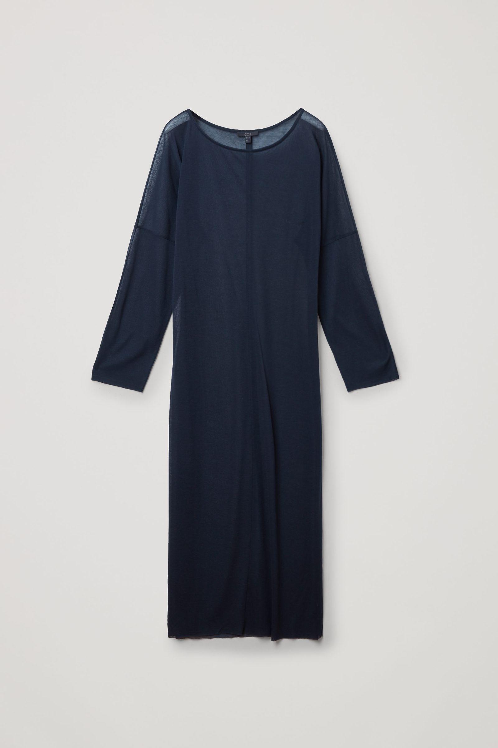 COS 롱 쉬어 코튼 드레스의 네이비컬러 Product입니다.