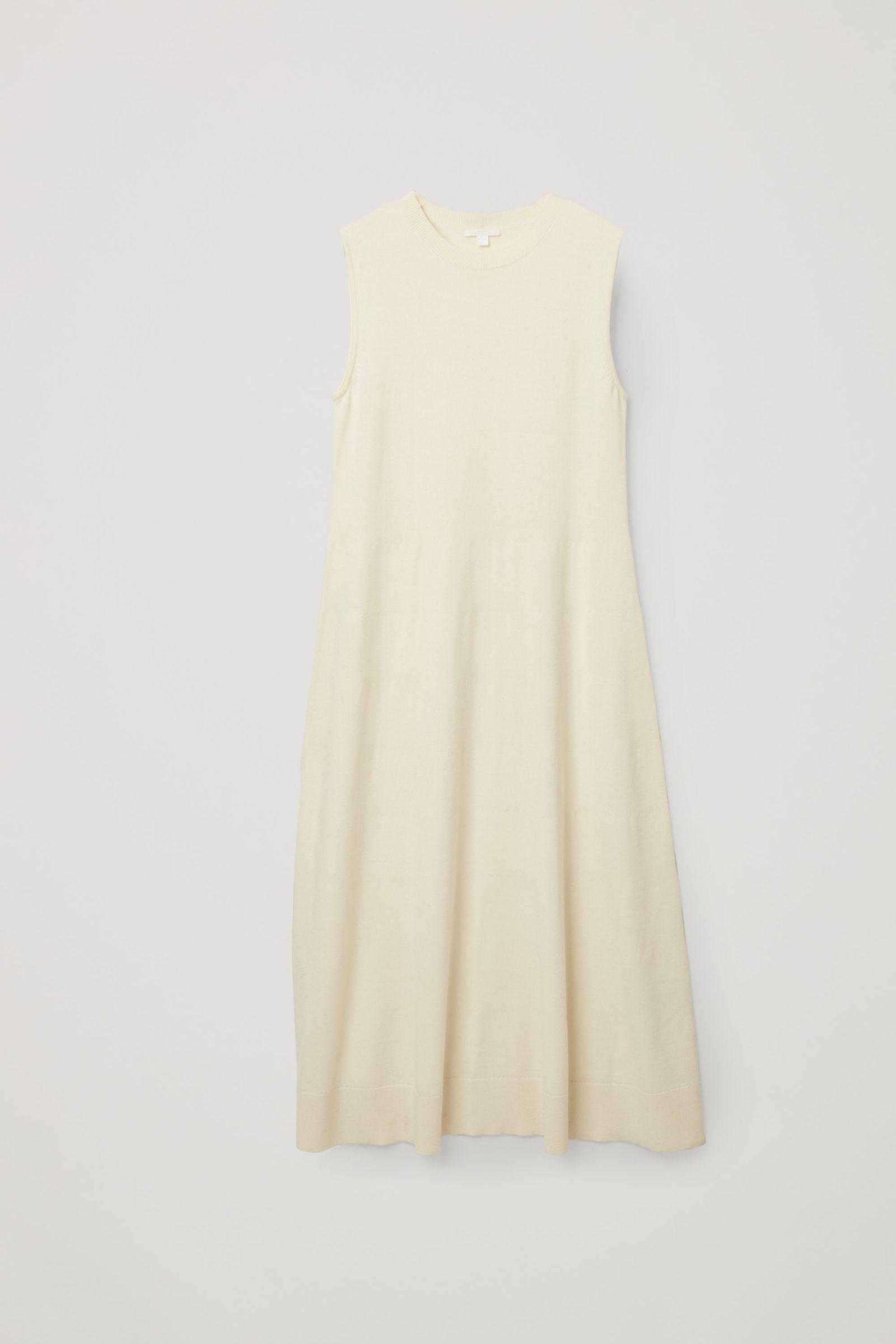 COS 니티드 A라인 메리노 울 드레스의 오프 화이트컬러 Product입니다.