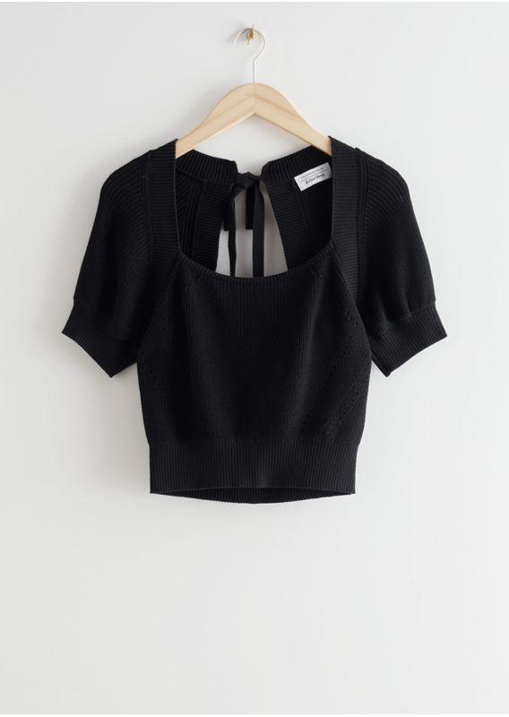 &OS image 24 of 블랙 in 넥 타이 니트 스웨터