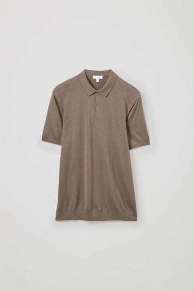 COS default image 3 of 브라운 in 실크 코튼 니트 폴로 셔츠