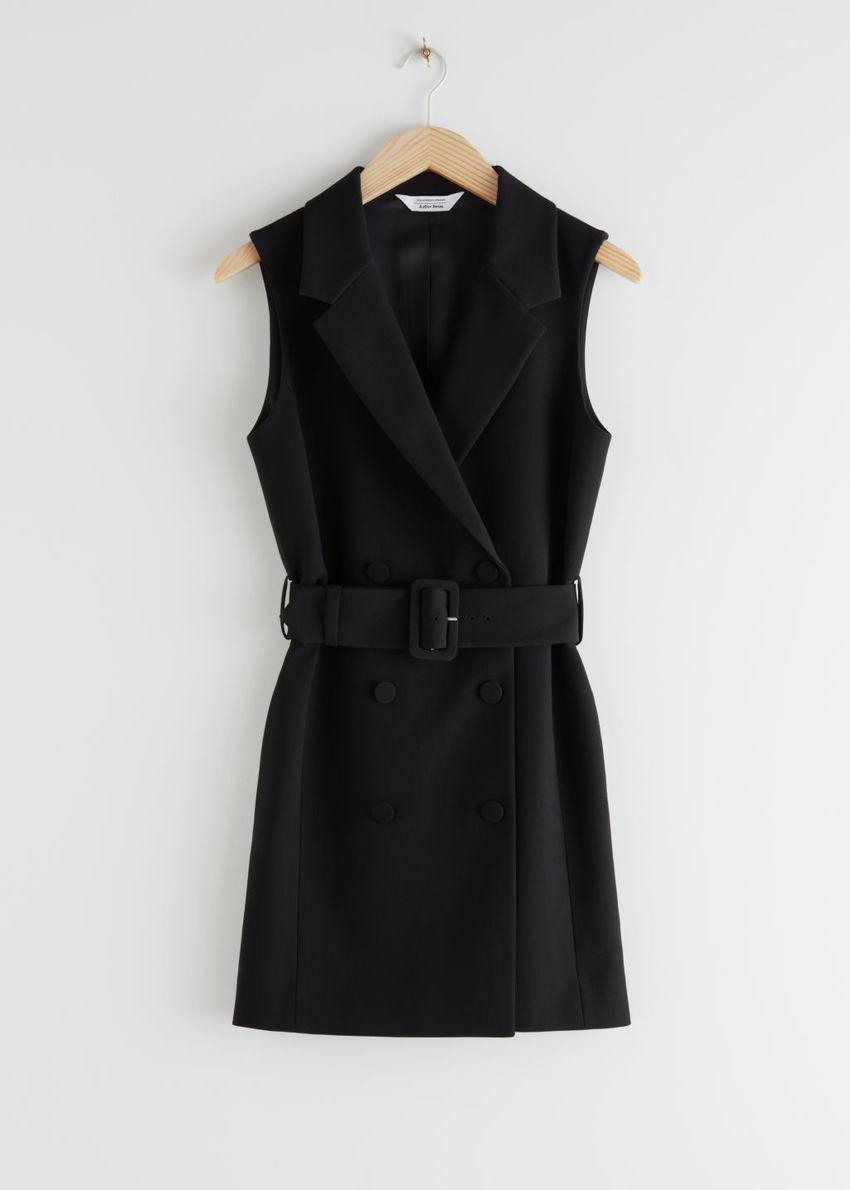 앤아더스토리즈 더블 브레스티드 슬리브리스 벨티드 미니 드레스의 블랙컬러 Product입니다.