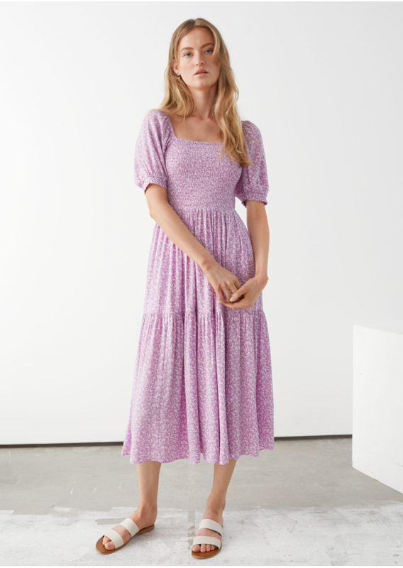 &OS image 1 of 라일락 플로럴 in 퍼프 슬리브 스모크 맥시 드레스