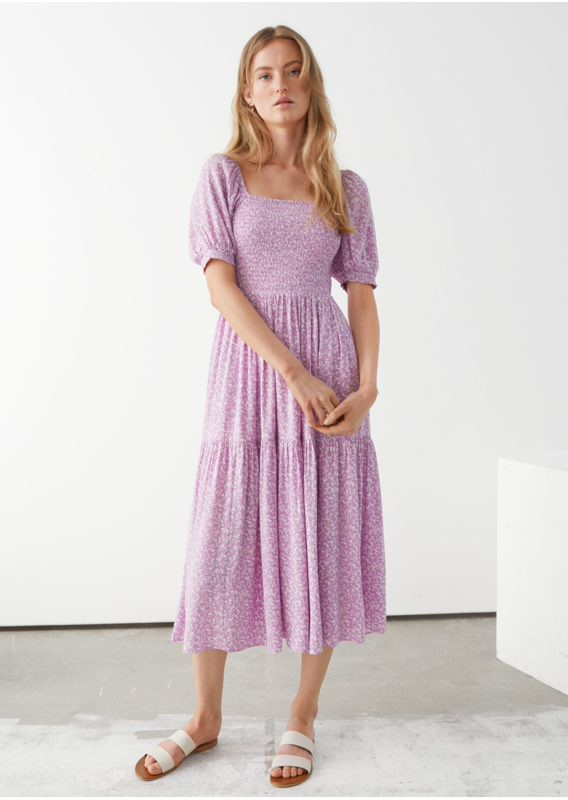 &OS image 16 of 라일락 in 퍼프 슬리브 스모크 맥시 드레스