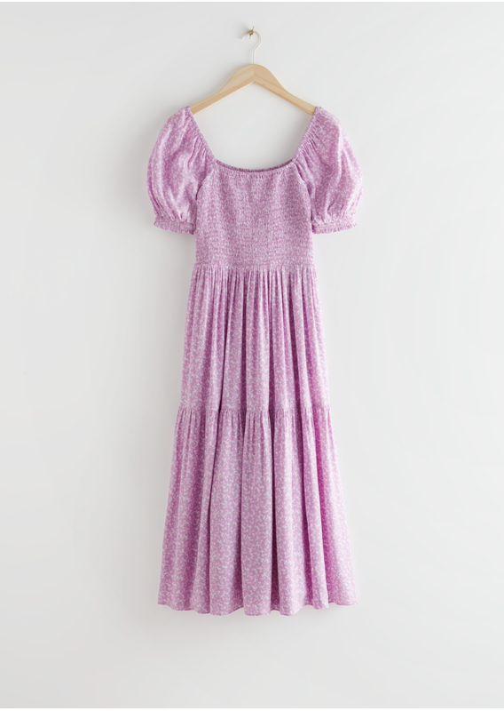 &OS image 3 of 라일락 in 퍼프 슬리브 스모크 맥시 드레스