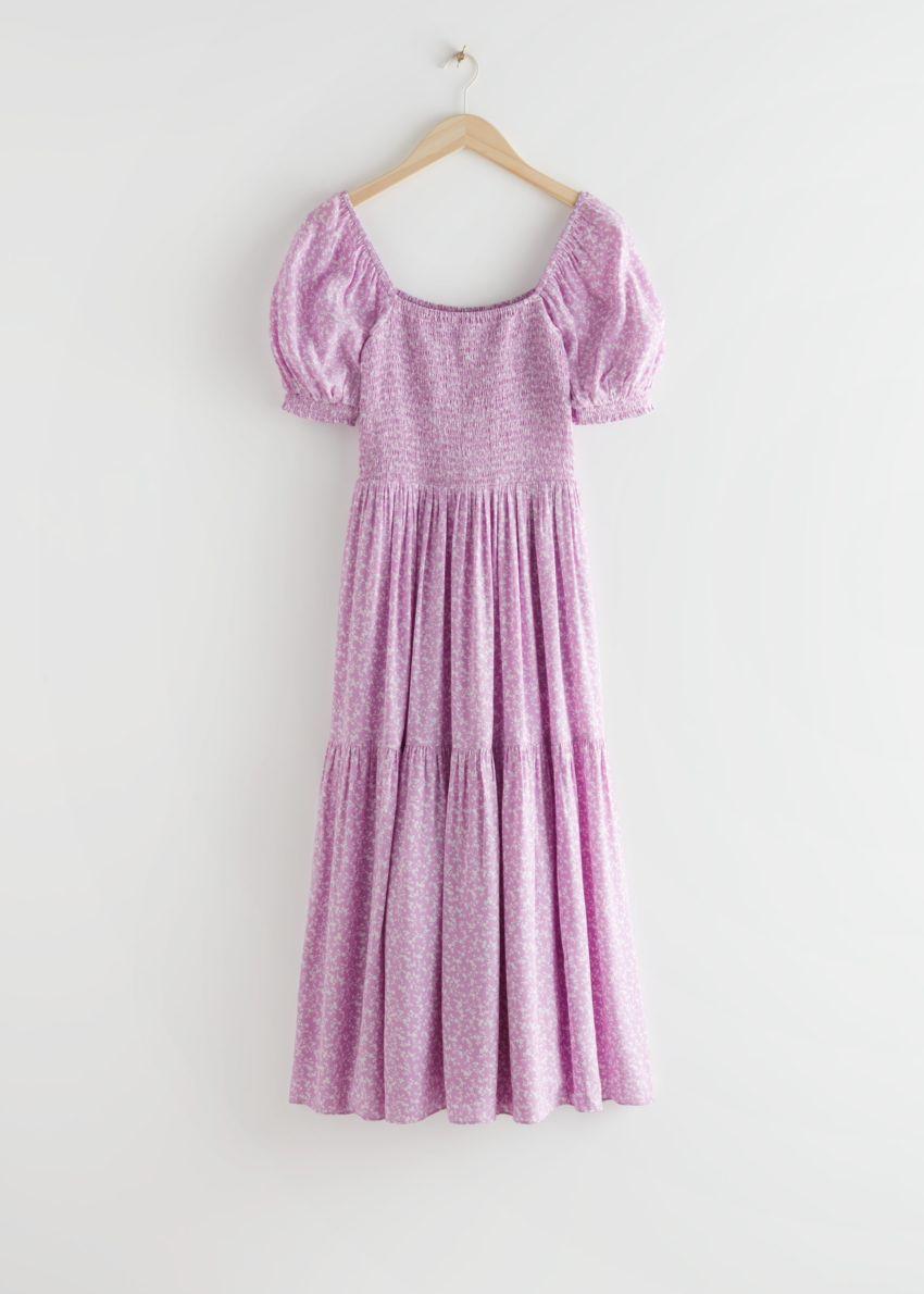 앤아더스토리즈 퍼프 슬리브 스모크 맥시 드레스의 라일락 플로럴컬러 Product입니다.