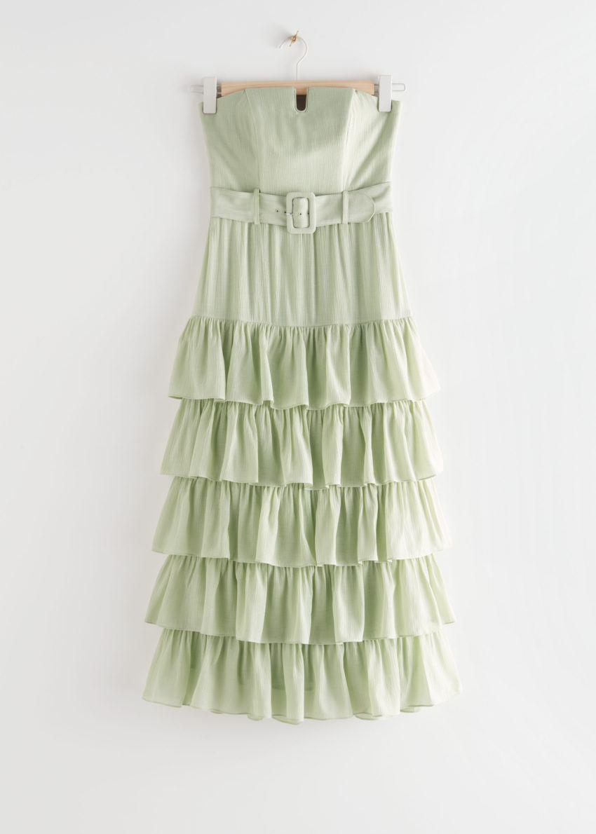 앤아더스토리즈 러플 스트랩리스 미디 드레스의 라이트 그린컬러 Product입니다.