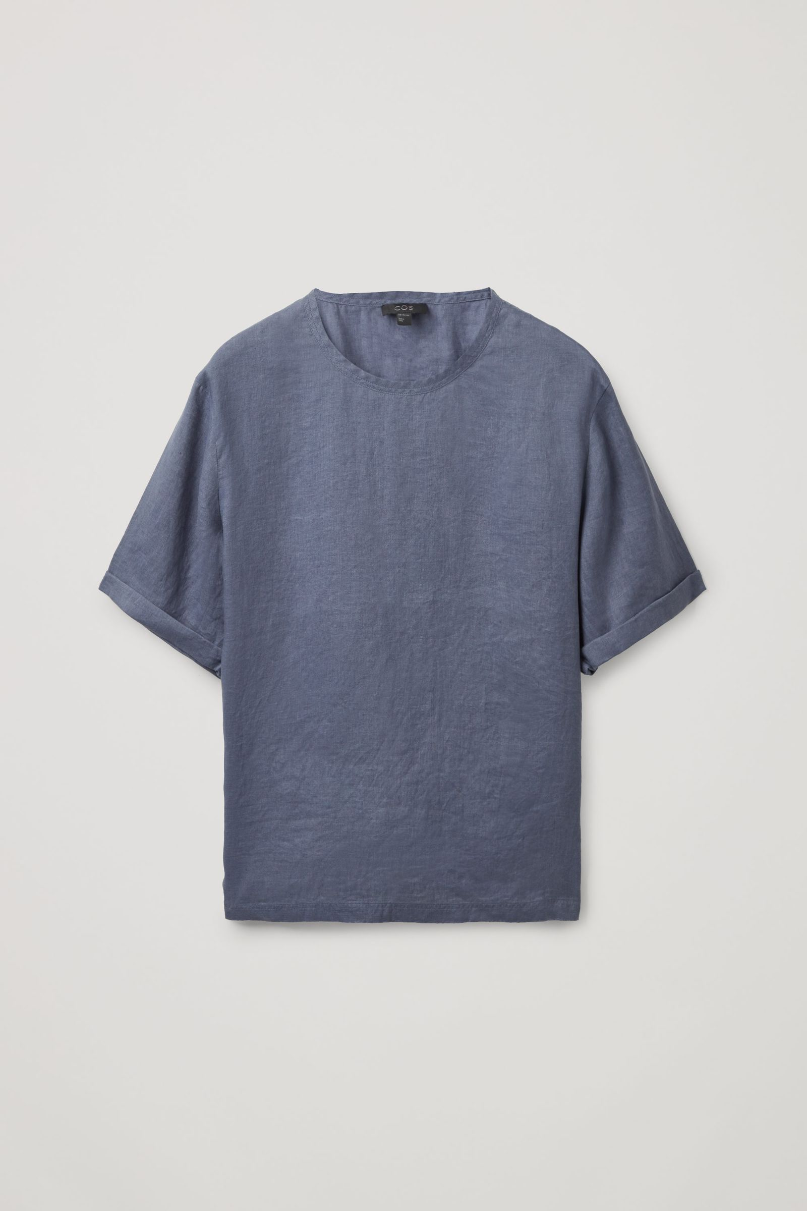 COS 릴랙스드 핏 헴프 티셔츠의 블루컬러 Product입니다.