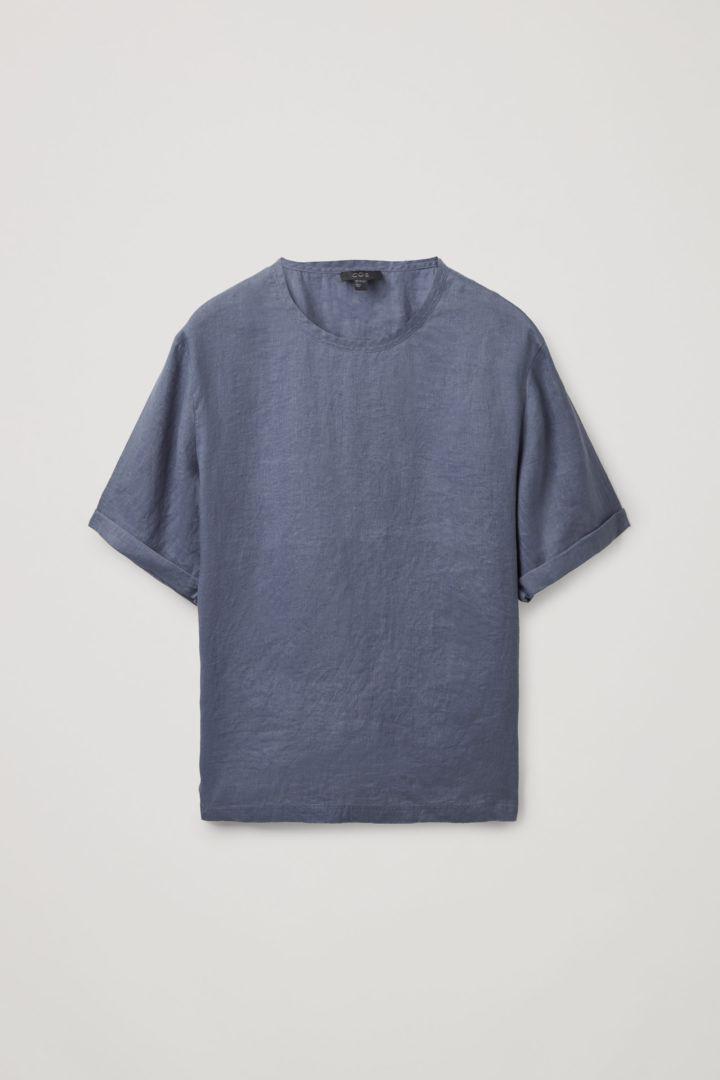 COS default image 7 of 블루 in 오버사이즈 리넨 티셔츠