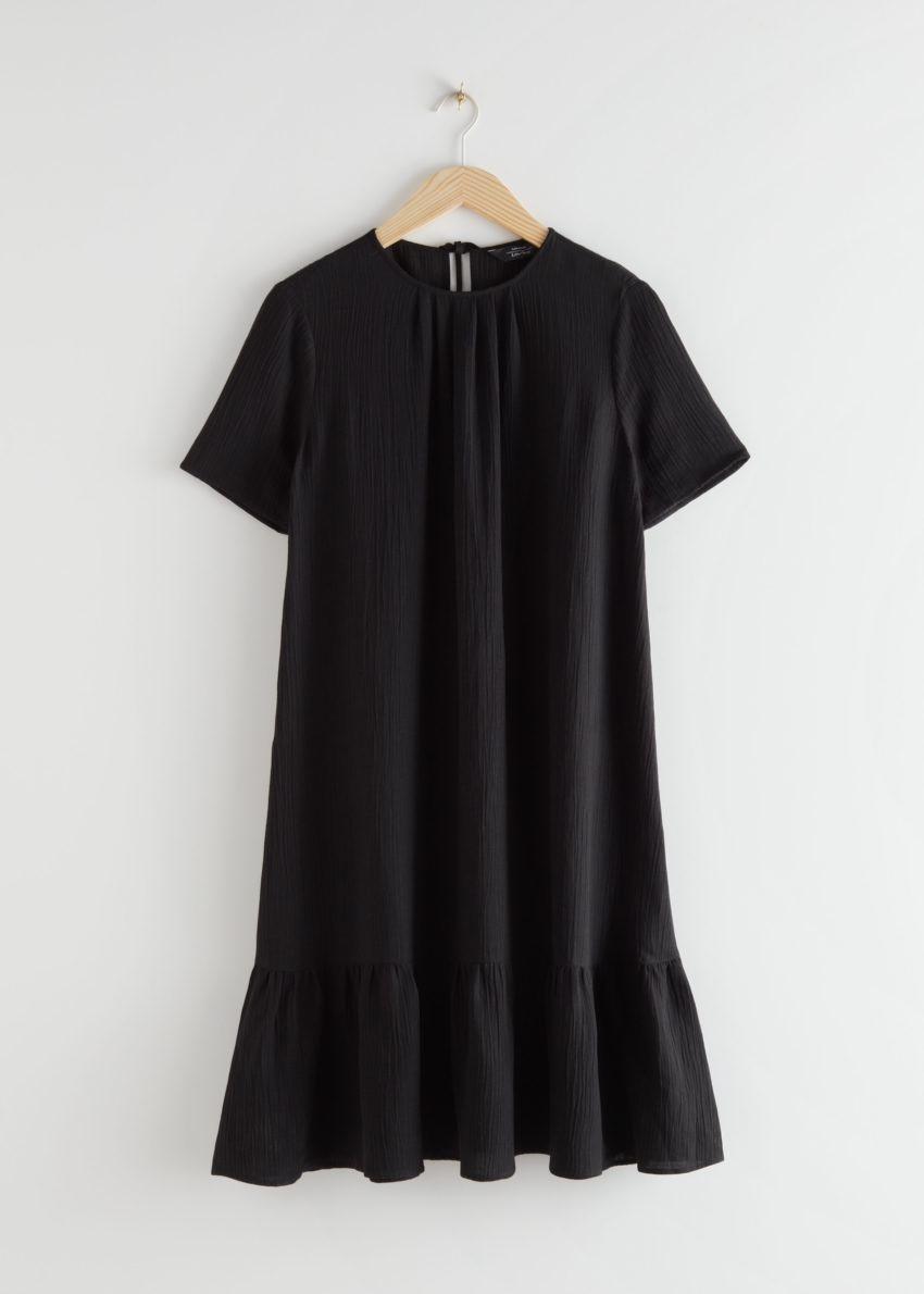 앤아더스토리즈 A라인 러플 미니 드레스의 블랙컬러 Product입니다.