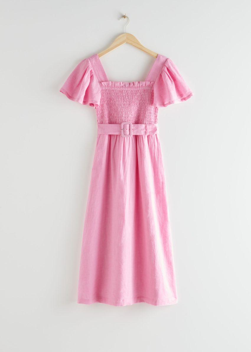 앤아더스토리즈 리넨 스모크 미디 드레스의 핑크컬러 Product입니다.