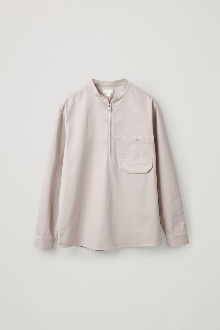 COS 그랜대드 칼라 오가닉 코튼 셔츠의 브라운컬러 Product입니다.