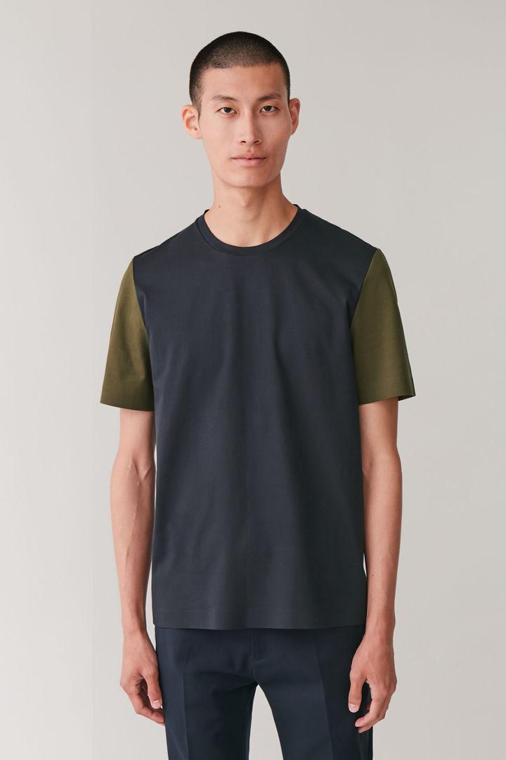 COS default image 5 of 블루 in 본디드 코튼 티셔츠