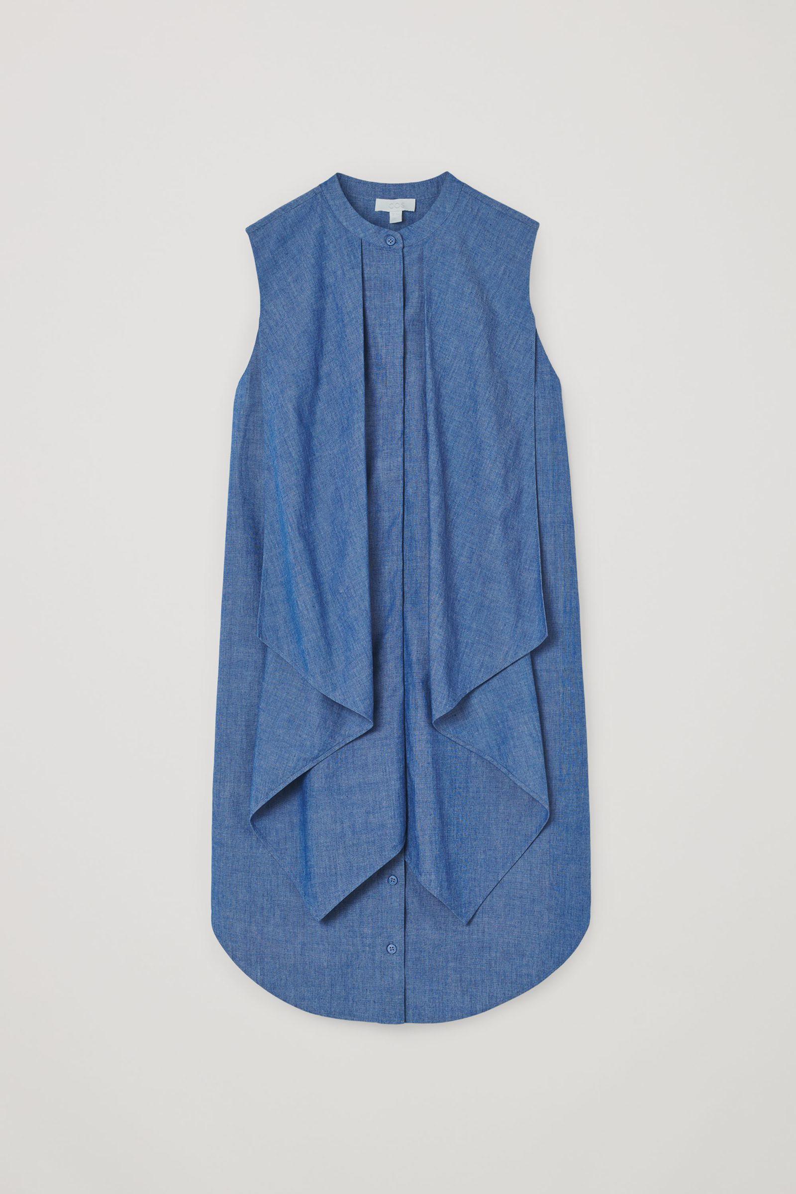COS 오가닉 코튼 러플드 데님 드레스의 블루컬러 Product입니다.