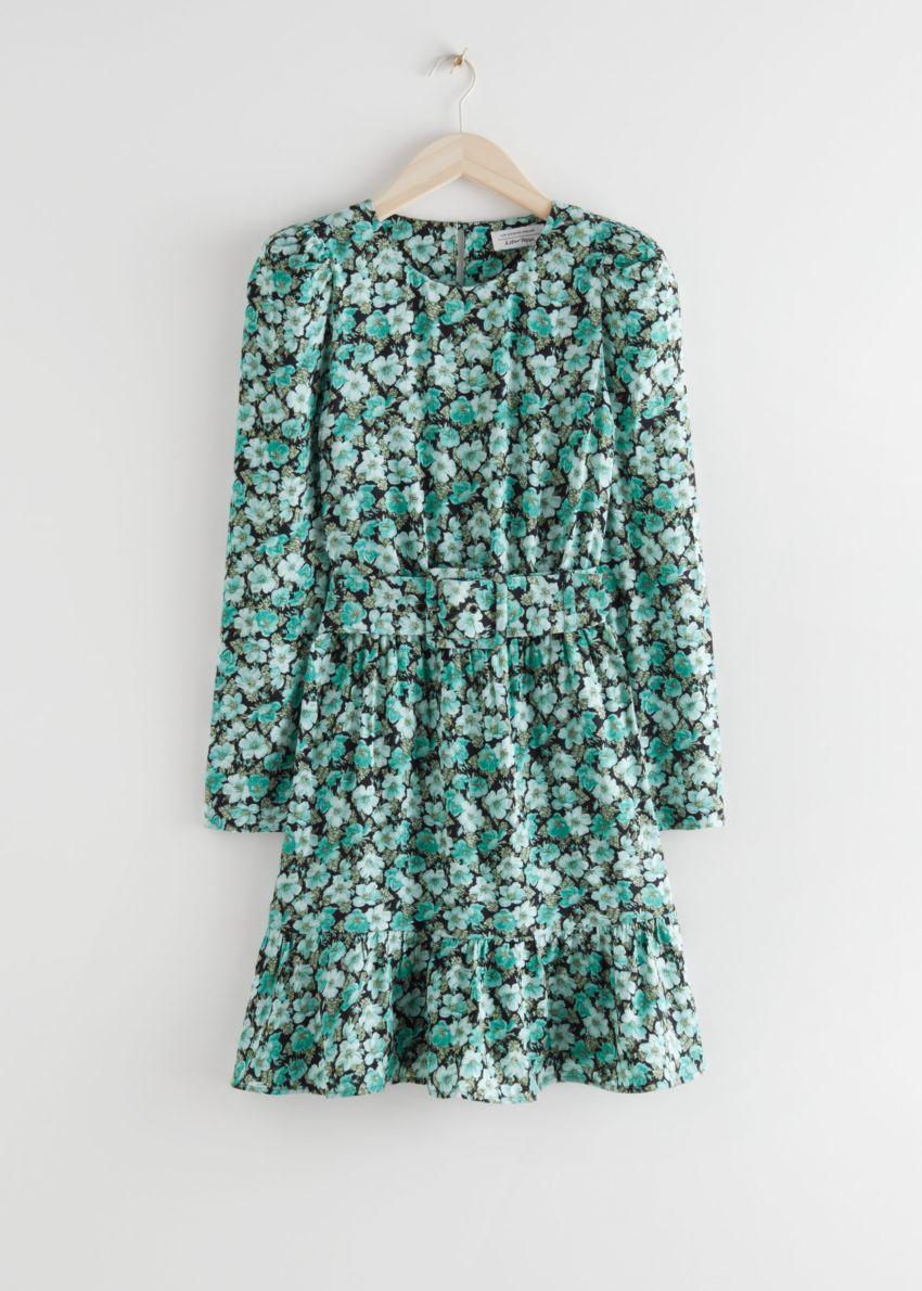 앤아더스토리즈 벨티드 퍼프 슬리브 미니 드레스의 터쿼이즈 플로럴컬러 Product입니다.