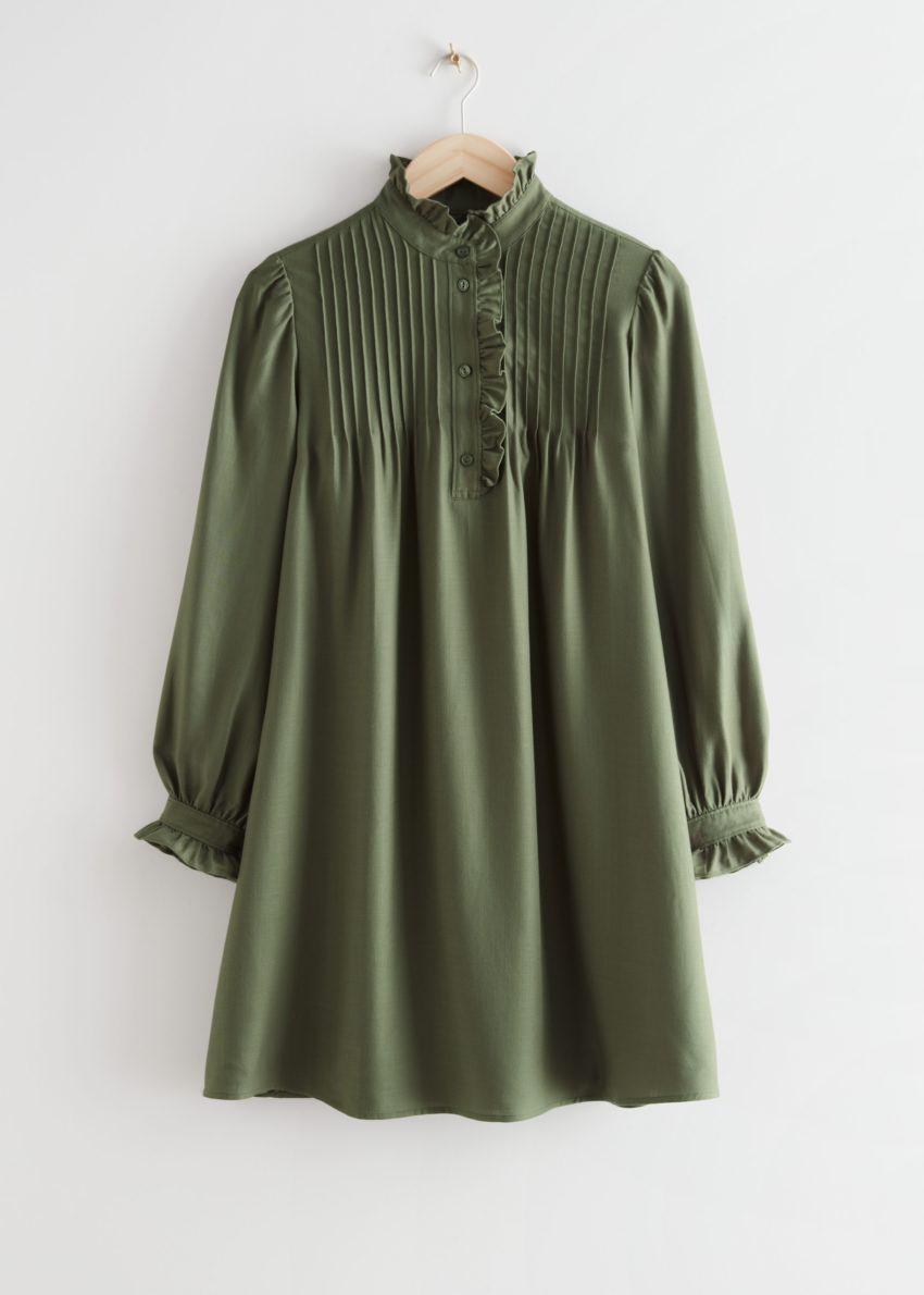 앤아더스토리즈 러플 베이비돌 미니 드레스의 카키컬러 Product입니다.