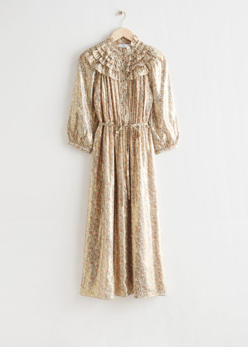 앤아더스토리즈 벨티드 러플 미디 드레스의 옐로우 프린트컬러 Product입니다.